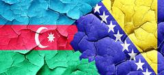 Azerbaijan flag with Bosnia and Herzegovina flag on a grunge cra - stock illustration