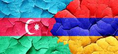 Azerbaijan flag with Armenia flag on a grunge cracked wall - stock illustration