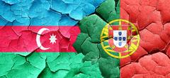 Azerbaijan flag with Portugal flag on a grunge cracked wall Stock Illustration