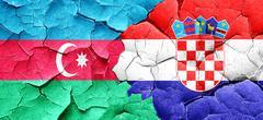 Azerbaijan flag with Croatia flag on a grunge cracked wall - stock illustration