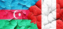 Azerbaijan flag with Peru flag on a grunge cracked wall - stock illustration