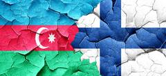 Azerbaijan flag with Finland flag on a grunge cracked wall Stock Illustration