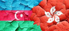 Azerbaijan flag with Hong Kong flag on a grunge cracked wall - stock illustration