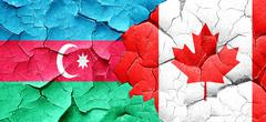Azerbaijan flag with Canada flag on a grunge cracked wall Stock Illustration