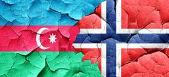 Azerbaijan flag with Norway flag on a grunge cracked wall - stock illustration