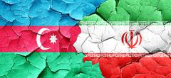 Azerbaijan flag with Iran flag on a grunge cracked wall Stock Illustration