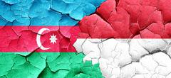 Azerbaijan flag with Indonesia flag on a grunge cracked wall - stock illustration