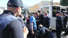 police post. check demonstrators - stock footage