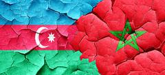 Azerbaijan flag with Morocco flag on a grunge cracked wall Stock Illustration