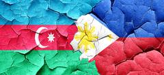 Azerbaijan flag with Philippines flag on a grunge cracked wall - stock illustration