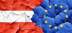 Austria flag with european union flag on a grunge cracked wall - stock illustration
