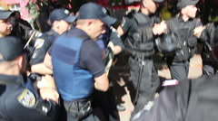 police brutally arrested protester - stock footage