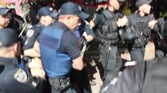 Police brutally arrested protester Stock Footage