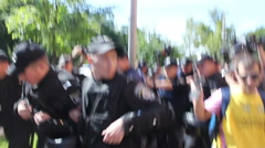 Police Arrested Protesters - stock footage