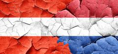 Austria flag with Netherlands flag on a grunge cracked wall - stock illustration