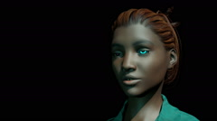 Young woman with blue glowing iris, 3D animation Stock Footage