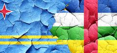 Aruba flag with Central African Republic flag on a grunge cracke Stock Illustration
