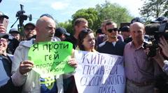 Protesting against LGBT  in Kiev Stock Footage