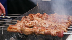 Kebab, meat roasted on the coals.slow motion - stock footage