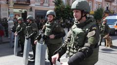 Militarized Police In Kiev with shields Stock Footage