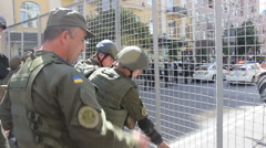 Militarized Police In Kiev near the barricades Stock Footage