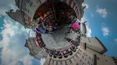 360Vr Video Crowd City Day in Opole Square Dad and Daughter at the Fair Kiosk Stock Footage