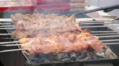 Kebab, meat roasted on the coals.slow motion Stock Footage