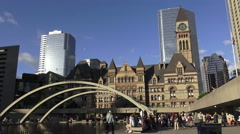 Nathan Phillip Square with view of Old City Hall in the background Stock Footage