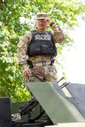 Military equipment and soldiers in Dragoon Ride II - stock photo