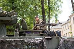 Military equipment and soldiers in Dragoon Ride II... - stock photo