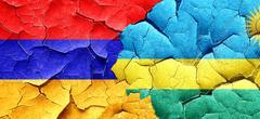 Armenia flag with rwanda flag on a grunge cracked wall Stock Illustration