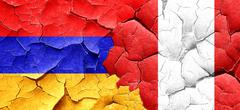 Armenia flag with Peru flag on a grunge cracked wall - stock illustration