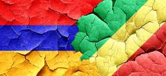 Armenia flag with congo flag on a grunge cracked wall Stock Illustration