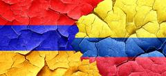 Armenia flag with Colombia flag on a grunge cracked wall - stock illustration