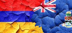 Armenia flag with Cayman islands flag on a grunge cracked wall - stock illustration