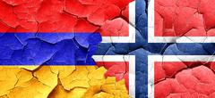 Armenia flag with Norway flag on a grunge cracked wall - stock illustration