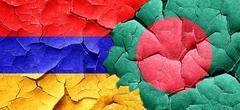 Armenia flag with Bangladesh flag on a grunge cracked wall - stock illustration