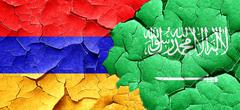 Armenia flag with Saudi Arabia flag on a grunge cracked wall Stock Illustration