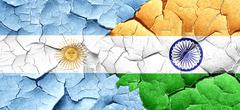Argentina flag with India flag on a grunge cracked wall - stock illustration