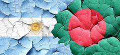 Argentina flag with Bangladesh flag on a grunge cracked wall Stock Illustration