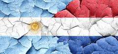 Argentina flag with Netherlands flag on a grunge cracked wall - stock illustration