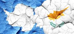 Antarctica flag with Cyprus flag on a grunge cracked wall Stock Illustration