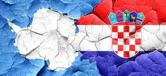 antarctica flag with Croatia flag on a grunge cracked wall - stock illustration