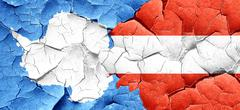 antarctica flag with Austria flag on a grunge cracked wall - stock illustration