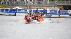 Chinese Dragon boat.Rowing competitions.Saint-Petersburg.Russia.12.06.2016 - stock footage