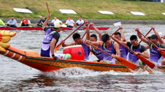 Chinese Dragon boat.Rowing competitions.Saint-Petersburg.Russia.12.06.2016 Stock Footage