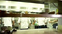 Chef pressing service bell on kitchen counter. Stock Footage