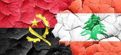 Angola flag with Lebanon flag on a grunge cracked wall - stock illustration