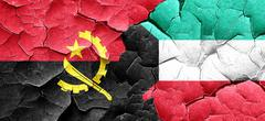 Angola flag with Kuwait flag on a grunge cracked wall - stock illustration