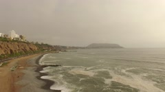 LIMA: Aerial of flying over the coastline of Lima (Miraflores), Peru Stock Footage